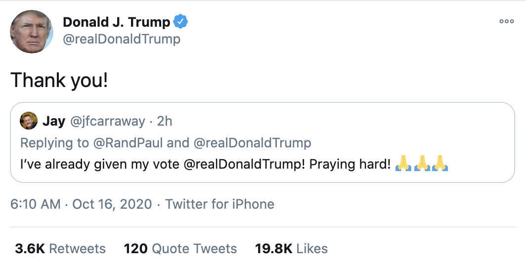 Screen-Shot-2020-10-16-at-8.20.20-AM Trump Follows Up 'Town Hall' With 14-Tweet Morning Explosion Of Insanity Election 2020 Featured Politics Top Stories