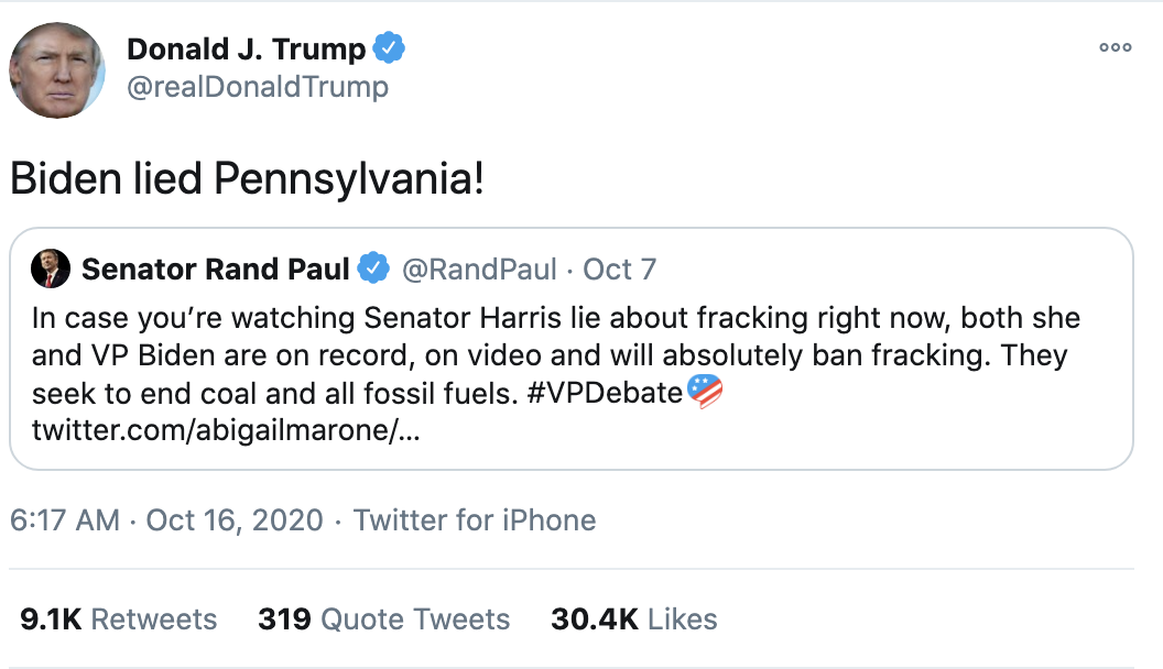Screen-Shot-2020-10-16-at-8.22.05-AM Trump Follows Up 'Town Hall' With 14-Tweet Morning Explosion Of Insanity Election 2020 Featured Politics Top Stories