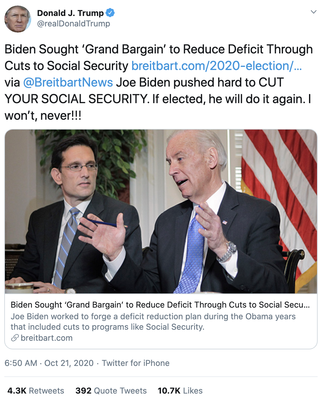 Screen-Shot-2020-10-21-at-7.09.18-AM Trump Snaps & Rage-Tweet Attacks Biden Like A Scared Old Man Election 2020 Featured Politics Top Stories