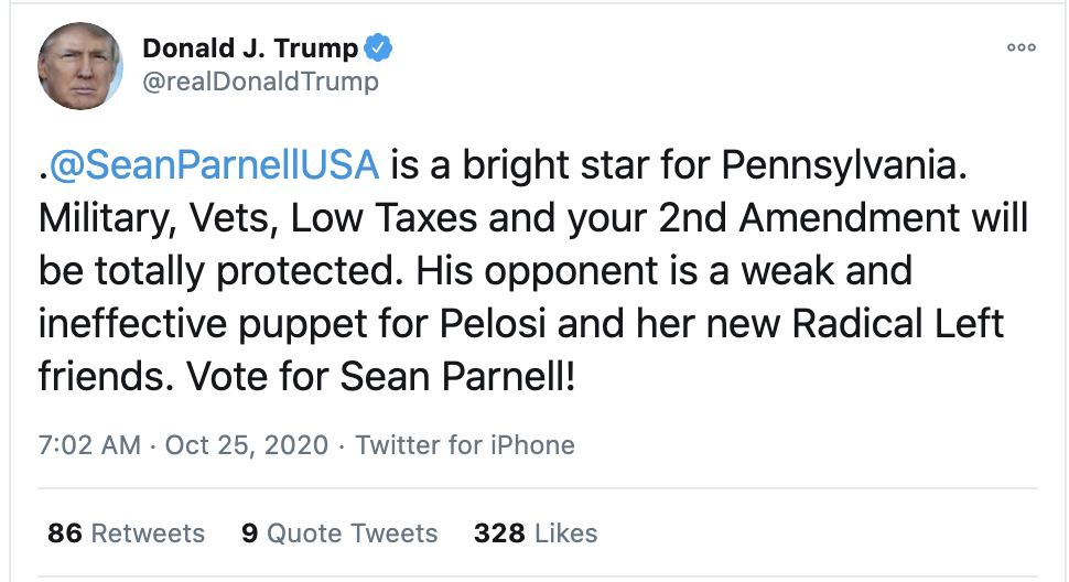 Screen-Shot-2020-10-25-at-7.03.13-AM Trump Charges Pennsylvania Governor With Voter Fraud During Sunday Meltdown Election 2020 Featured Military Politics Top Stories