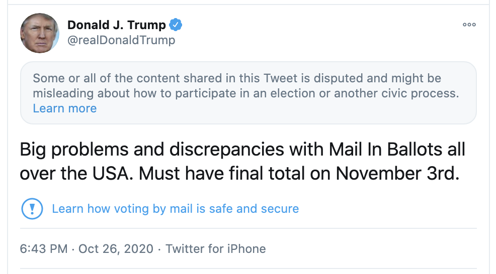 Screen-Shot-2020-10-26-at-7.08.03-PM-1 Twitter Hits Trump Where It Hurts The Most In The Tweet , Karma Fairies Are Dancing Corruption Featured Politics Social Media Top Stories