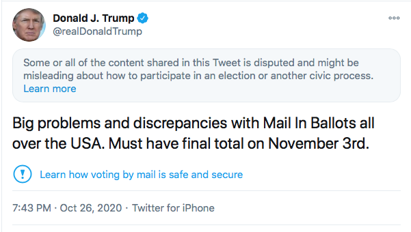 Screen-Shot-2020-10-26-at-9.45.19-PM Twitter Penalizes Trump's Account After Latest Election Lies Donald Trump Election 2020 Featured Politics Top Stories