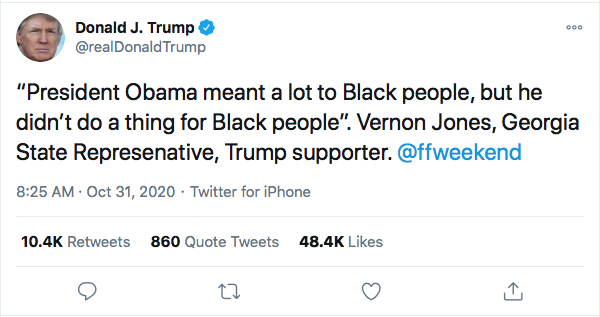 Screen-Shot-2020-10-31-at-10.02.01-AM Trump Launches Deranged Morning Tweet Attack On Obama's Blackness & NY Times Donald Trump Election 2020 Featured Politics Top Stories Twitter