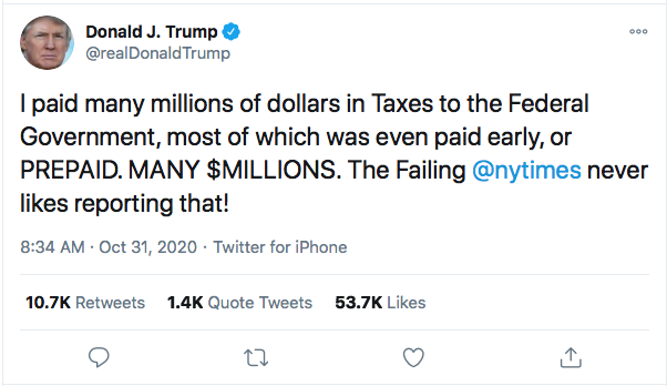 Screen-Shot-2020-10-31-at-10.02.16-AM Trump Launches Deranged Morning Tweet Attack On Obama's Blackness & NY Times Donald Trump Election 2020 Featured Politics Top Stories Twitter