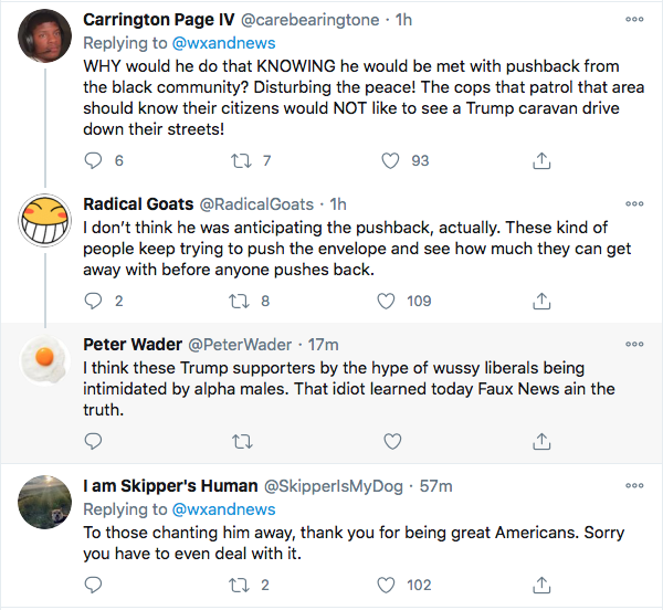 Screen-Shot-2020-10-31-at-4.35.56-PM Trump Caravan Attempts To Intimidate Black Voters But Fails Spectacularly Donald Trump Election 2020 Featured Politics Top Stories Twitter Videos