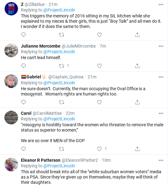 Screenshot-2020-10-27-at-11.28.07-AM 'The Lincoln Project' Celebrates 1-Week Mark With Trump Take-Down Donald Trump Election 2020 Politics Sexism Social Media Top Stories