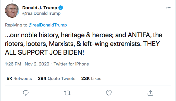 Screen-Shot-2020-11-02-at-3.19.38-PM Trump Launches 13-Tweet Election Eve Mega-Rant Like A Maniac Donald Trump Election 2020 Featured Politics Top Stories Twitter