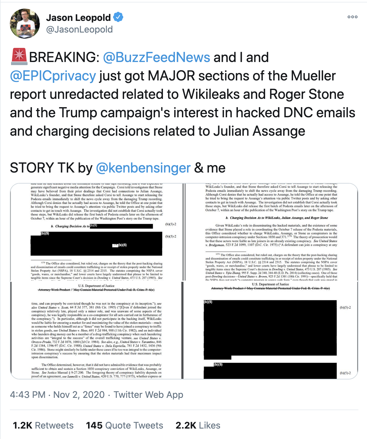 Screen-Shot-2020-11-03-at-10.28.49-AM Damning Pages Of Mueller Report Released In Pre-Election Surprise Featured Politics Robert Mueller Russia Top Stories