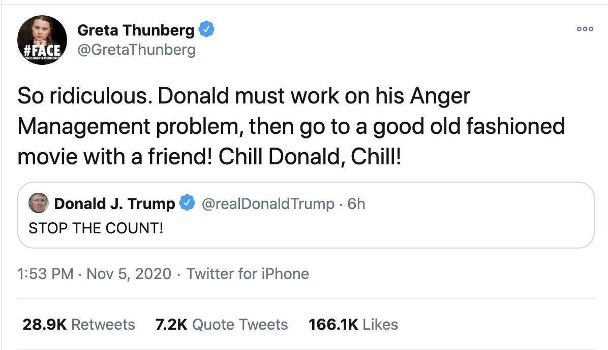 Screen-Shot-2020-11-05-at-2.37.57-PM Greta Thunberg Trolls Trump Like A Boss: 'Chill Donald, Chill' Activism Environment Featured Politics Top Stories