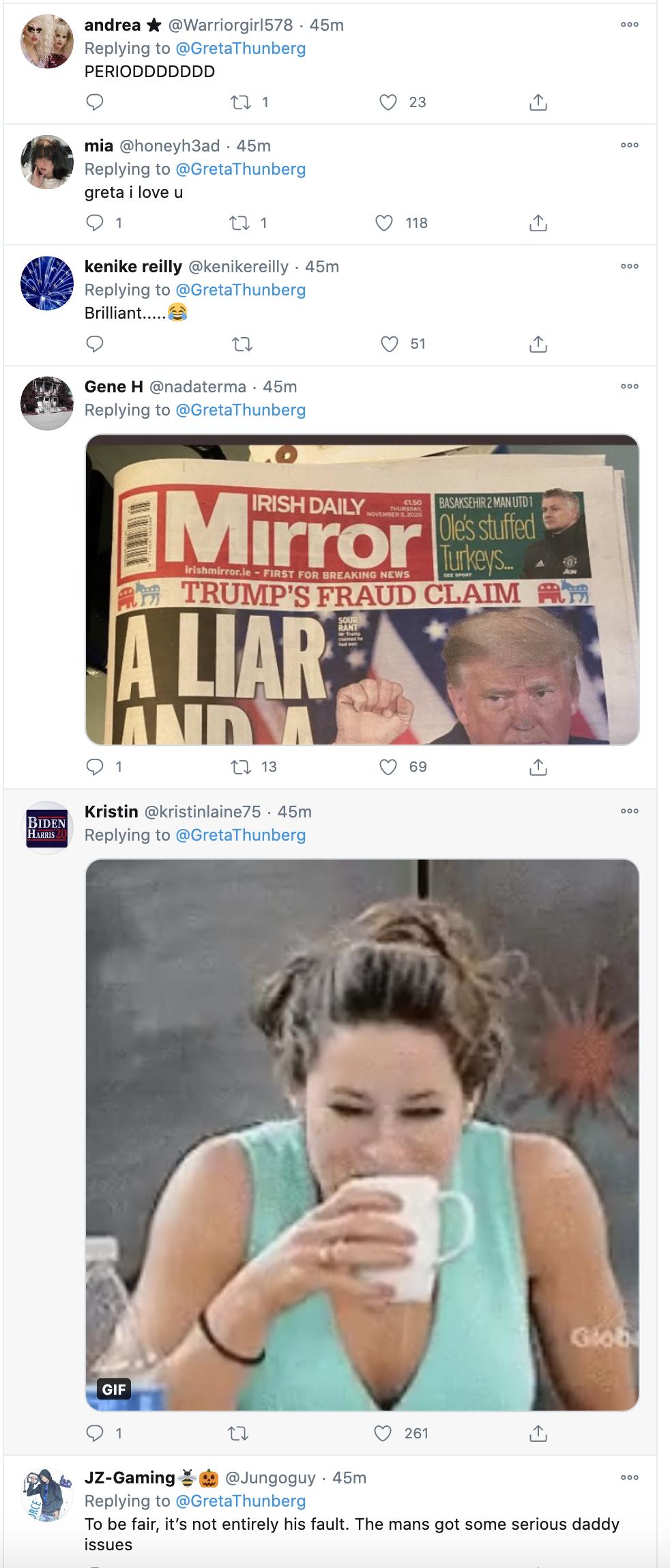Screen-Shot-2020-11-05-at-2.39.42-PM Greta Thunberg Trolls Trump Like A Boss: 'Chill Donald, Chill' Activism Environment Featured Politics Top Stories