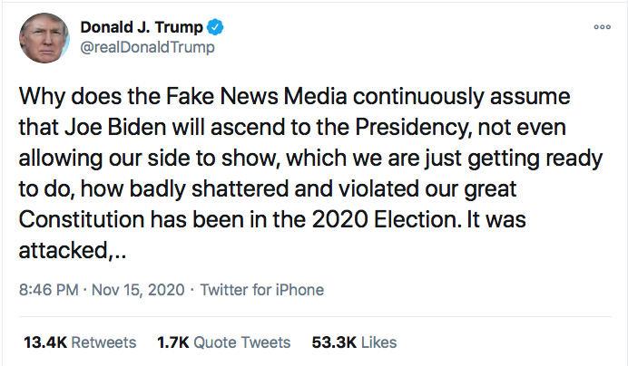 Screen-Shot-2020-11-15-at-9.02.07-PM Trump Flies Into Pathetic 3-Tweet Sunday Night Meltdown Conspiracy Theory Donald Trump Election 2020 Featured Politics Top Stories