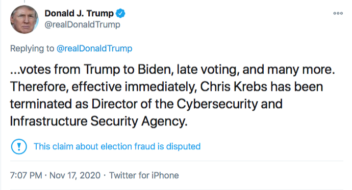 Screen-Shot-2020-11-17-at-9.06.39-PM Chris Krebs Rebuffs Trump's Firing Like A U.S. Patriot Conspiracy Theory Donald Trump Election 2020 Featured Politics Top Stories Twitter