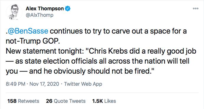 Screen-Shot-2020-11-17-at-9.41.58-PM GOP Senators Finally Abandon Trump After Firing Of Chris Krebs Conspiracy Theory Donald Trump Election 2020 Featured Politics Top Stories Twitter