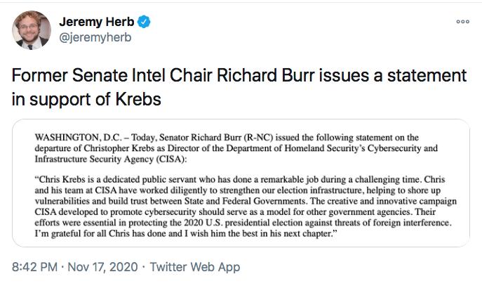 Screen-Shot-2020-11-17-at-9.42.41-PM GOP Senators Finally Abandon Trump After Firing Of Chris Krebs Conspiracy Theory Donald Trump Election 2020 Featured Politics Top Stories Twitter
