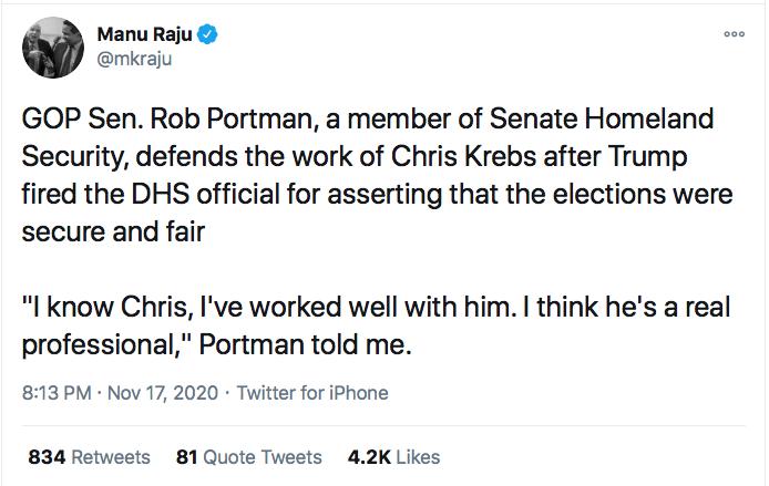 Screen-Shot-2020-11-17-at-9.43.28-PM GOP Senators Finally Abandon Trump After Firing Of Chris Krebs Conspiracy Theory Donald Trump Election 2020 Featured Politics Top Stories Twitter