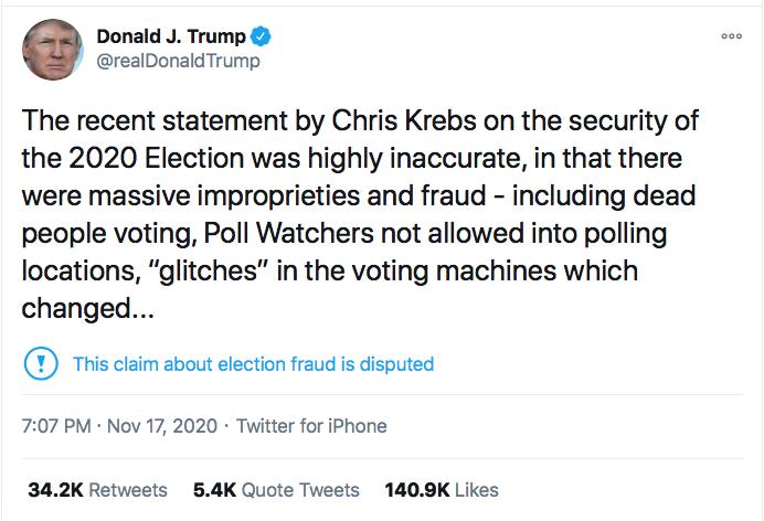 Screen-Shot-2020-11-17-at-9.46.37-PM GOP Senators Finally Abandon Trump After Firing Of Chris Krebs Conspiracy Theory Donald Trump Election 2020 Featured Politics Top Stories Twitter