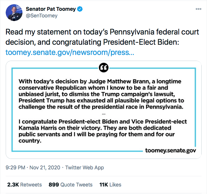 Screen-Shot-2020-11-21-at-10.13.07-PM Top GOP Senator Publicly Abandons Trump After PA Court Loss Conspiracy Theory Donald Trump Election 2020 Featured Politics Top Stories Twitter