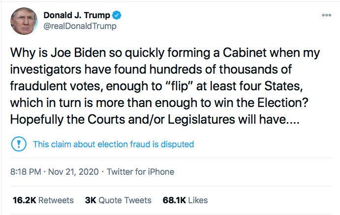 Screen-Shot-2020-11-21-at-8.48.47-PM Trump Spazzes Into Saturday Night Conniption Fit After Seeing Court Loss Conspiracy Theory Donald Trump Election 2020 Featured Politics Top Stories Twitter
