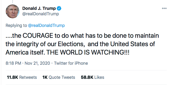 Screen-Shot-2020-11-21-at-8.49.13-PM Trump Spazzes Into Saturday Night Conniption Fit After Seeing Court Loss Conspiracy Theory Donald Trump Election 2020 Featured Politics Top Stories Twitter