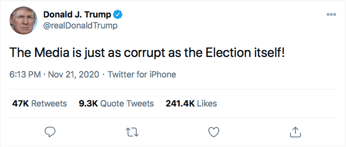 Screen-Shot-2020-11-21-at-8.49.29-PM Trump Spazzes Into Saturday Night Conniption Fit After Seeing Court Loss Conspiracy Theory Donald Trump Election 2020 Featured Politics Top Stories Twitter
