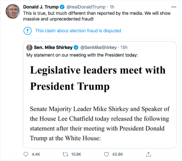 Screen-Shot-2020-11-21-at-9.28.00-AM Trump Has Saturday Morning Hissy-Fit After Seeing Latest Court Losses Conspiracy Theory Donald Trump Election 2020 Featured Politics Top Stories Twitter