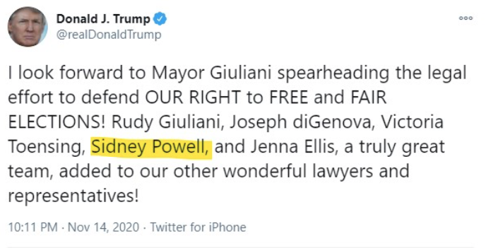 Screen-Shot-2020-11-22-at-10.41.57-PM Sydney Powell Responds To Getting Fired With New Kraken Phrase Conspiracy Theory Donald Trump Election 2020 Featured Politics Top Stories