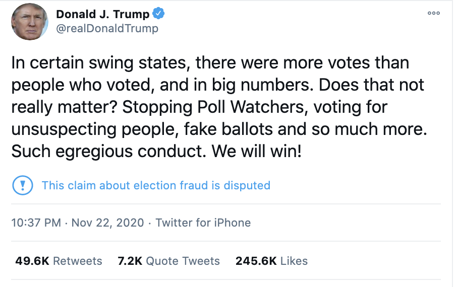 Screen-Shot-2020-11-23-at-8.37.14-AM Trump Tweets Delusional Voter Fraud Nonsense Like A Scared Old Man Crime Donald Trump Featured Politics Top Stories