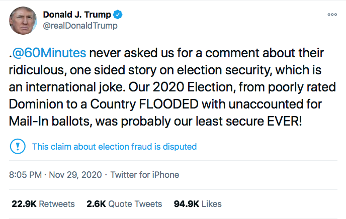 Screen-Shot-2020-11-29-at-9.41.02-PM Trump Has Sunday Night Conniption Fit After Watching '60 Minutes' Conspiracy Theory Donald Trump Election 2020 Featured Politics Top Stories Twitter
