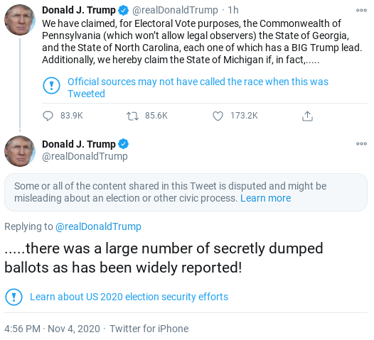 Screenshot-2020-11-04-at-6.04.40-PM Trump Sees Updated Afternoon Totals & Melts Down Like A Scared Lunatic Corruption Donald Trump Election 2020 Politics Social Media Top Stories