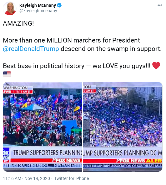 Screenshot-2020-11-14-at-12.38.46-PM Kayleigh McEnany Caught Lying About Crowd Size Of Saturday Trump Rally Donald Trump Election 2020 Politics Social Media Top Stories