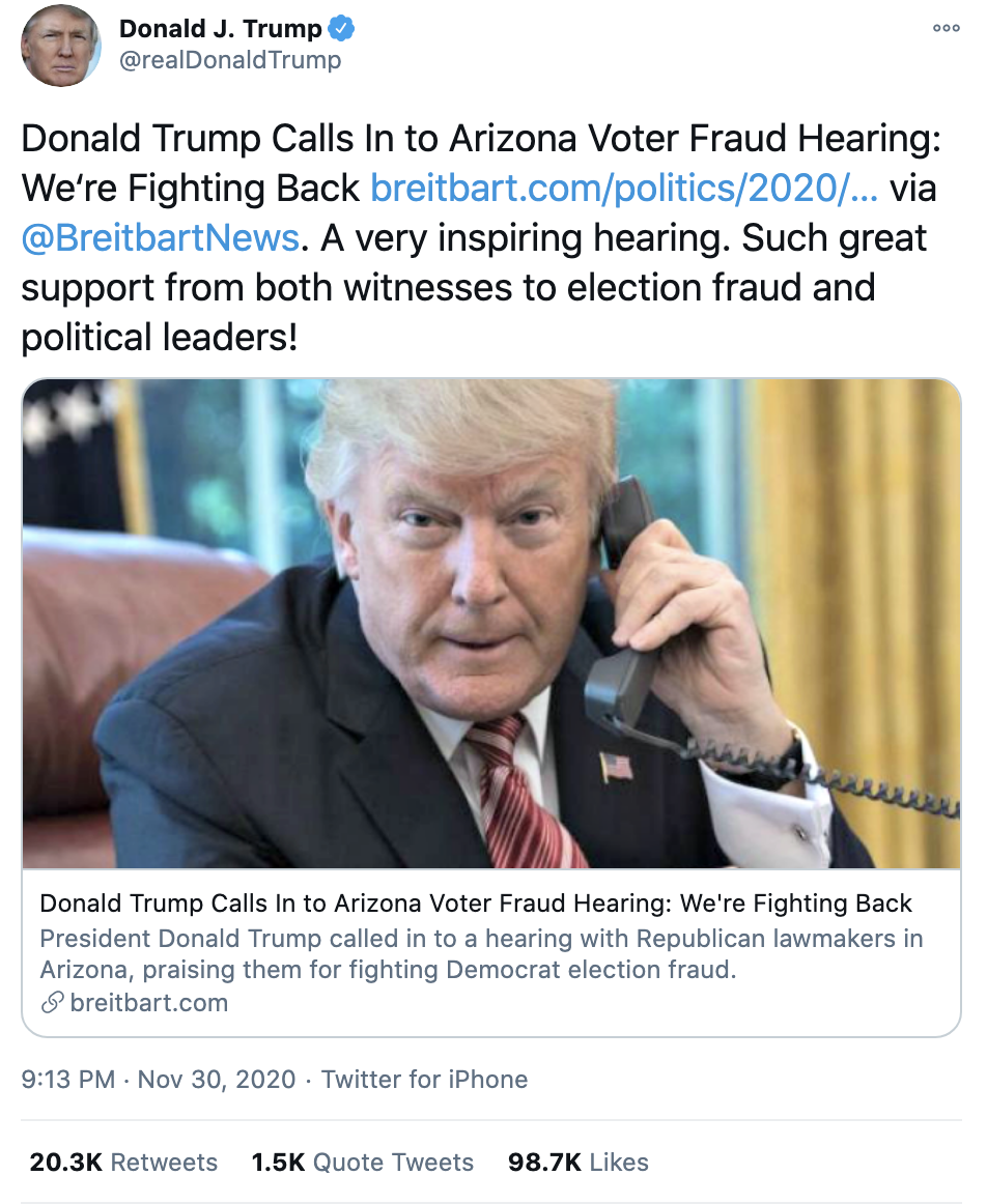 Screen-Shot-2020-12-01-at-7.10.50-AM Trump Throws Childlike Twitter Tantrum Over Arizona Certification Crime Featured National Security Politics Top Stories
