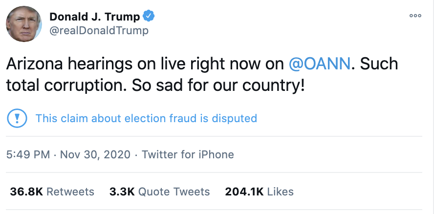 Screen-Shot-2020-12-01-at-7.25.02-AM Trump Throws Childlike Twitter Tantrum Over Arizona Certification Crime Featured National Security Politics Top Stories