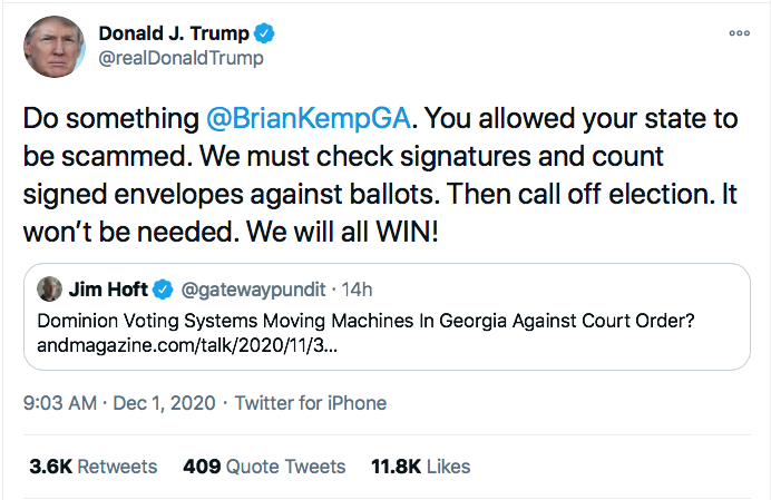 Screen-Shot-2020-12-01-at-9.11.55-AM Trump Hatches Plan To Call Off Georgia Special Election Conspiracy Theory Donald Trump Election 2020 Featured Politics Top Stories Twitter