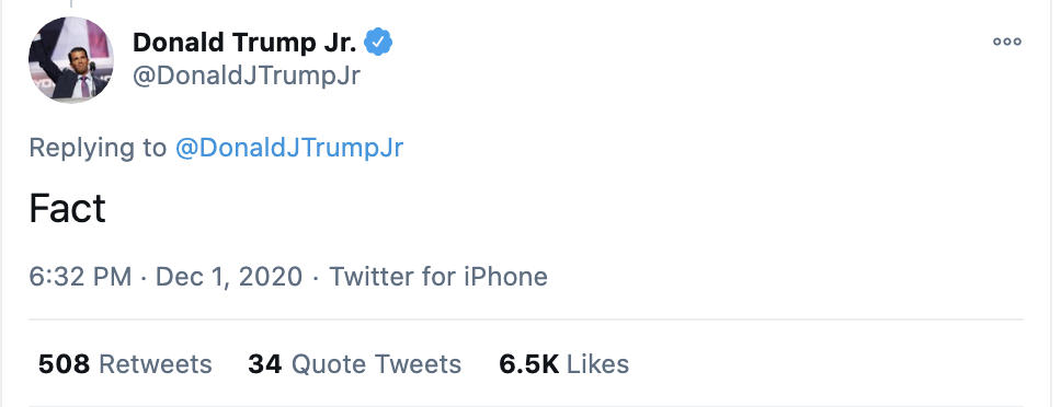 Screen-Shot-2020-12-02-at-8.43.48-AM Don Jr. Melts Down Like A Maniac After Day Of Horrible News Conspiracy Theory Fact-Checker Featured Politics Top Stories