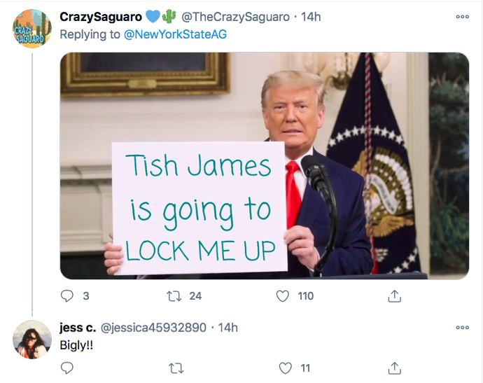 Screen-Shot-2020-12-03-at-10.06.14-AM Letitia James Tweets Directly To Trump Like His Future Worst Enemy Conspiracy Theory Donald Trump Election 2020 Featured Politics Top Stories Twitter