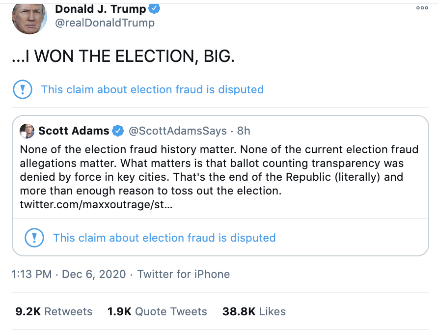 Screen-Shot-2020-12-06-at-1.40.22-PM Trump Tweets Claim That America Will End During Sunday Meltdown Conspiracy Theory Corruption Featured Politics Top Stories