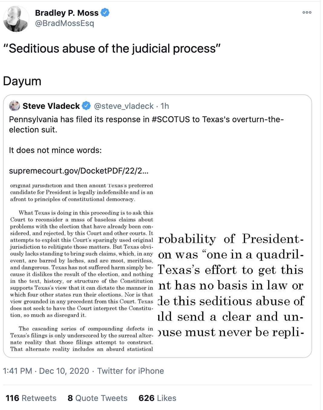 Screen-Shot-2020-12-10-at-3.13.01-PM Pennsylvania Forcefully Responds To Phony Texas SCOTUS Lawsuit Featured Politics Supreme Court Top Stories White Privilege