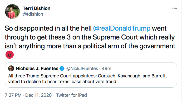 Screen-Shot-2020-12-11-at-7.38.39-PM GOP Responds To SCOTUS Defeat Like Treasonous Traitors Conspiracy Theory Donald Trump Election 2020 Featured Politics Top Stories Twitter