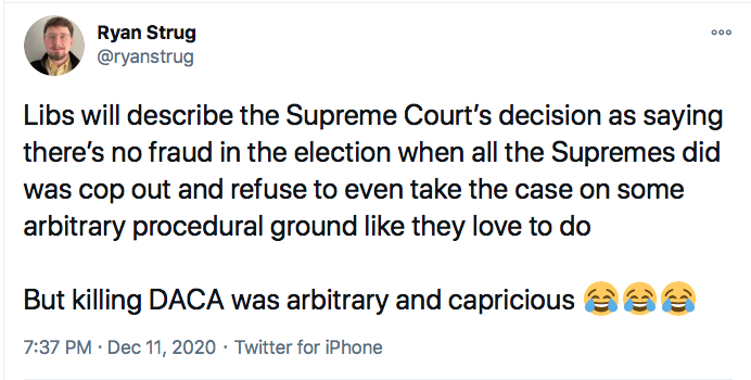 Screen-Shot-2020-12-11-at-7.42.55-PM GOP Responds To SCOTUS Defeat Like Treasonous Traitors Conspiracy Theory Donald Trump Election 2020 Featured Politics Top Stories Twitter