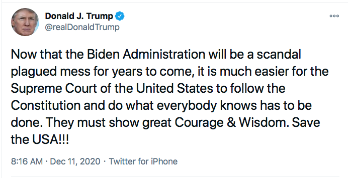 Screen-Shot-2020-12-11-at-9.14.58-AM Trump Targets SCOTUS During 5-Tweet Morning Eruption Of Insanity Conspiracy Theory Donald Trump Election 2020 Featured Politics Top Stories Twitter