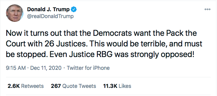 Screen-Shot-2020-12-11-at-9.20.07-AM Trump Targets SCOTUS During 5-Tweet Morning Eruption Of Insanity Conspiracy Theory Donald Trump Election 2020 Featured Politics Top Stories Twitter