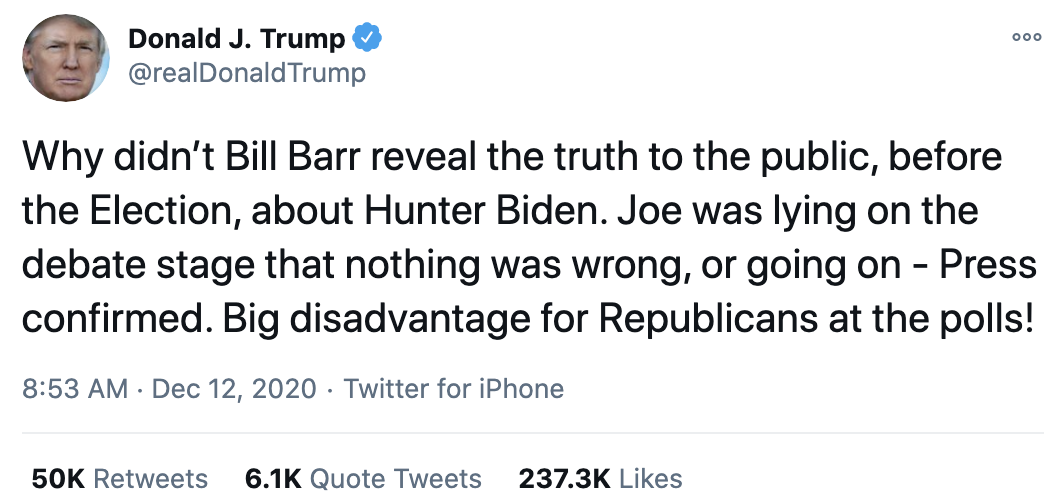 Screen-Shot-2020-12-13-at-8.19.41-AM Bill Barr Calls Trump 'Irrelevant' After Post-Election Meltdowns: report Conspiracy Theory Featured Mental Illness Politics Top Stories