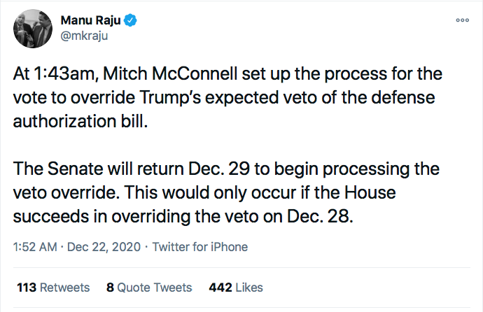 Screen-Shot-2020-12-22-at-10.07.03-AM Mitch McConnell Shores Up Votes To Override Trump Veto Of Defense Bill Donald Trump Featured Politics Top Stories Twitter