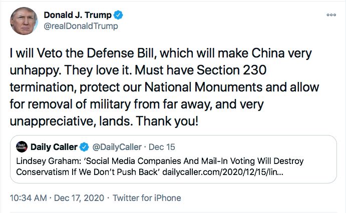 Screen-Shot-2020-12-22-at-10.15.51-AM Mitch McConnell Shores Up Votes To Override Trump Veto Of Defense Bill Donald Trump Featured Politics Top Stories Twitter