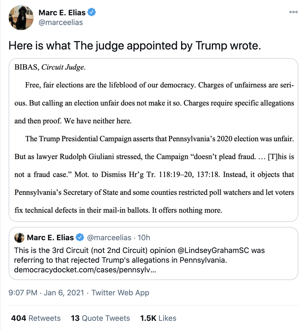 Screen-Shot-2021-01-07-at-8.00.55-AM Judge Denies Last-Ditch GOP Attempt To Overturn PA Election Crime Donald Trump Featured Politics Top Stories