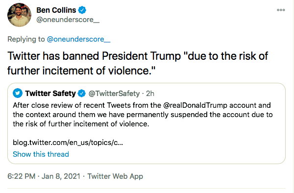 Screen-Shot-2021-01-08-at-9.02.56-PM Trump Rage-Tweets From Backup Account But Gets Banned Instantly Conspiracy Theory Donald Trump Featured Politics Top Stories Twitter