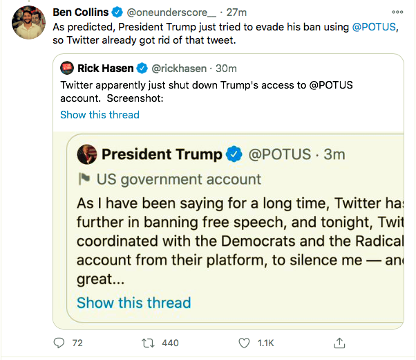 Screen-Shot-2021-01-08-at-9.04.02-PM Trump Rage-Tweets From Backup Account But Gets Banned Instantly Conspiracy Theory Donald Trump Featured Politics Top Stories Twitter