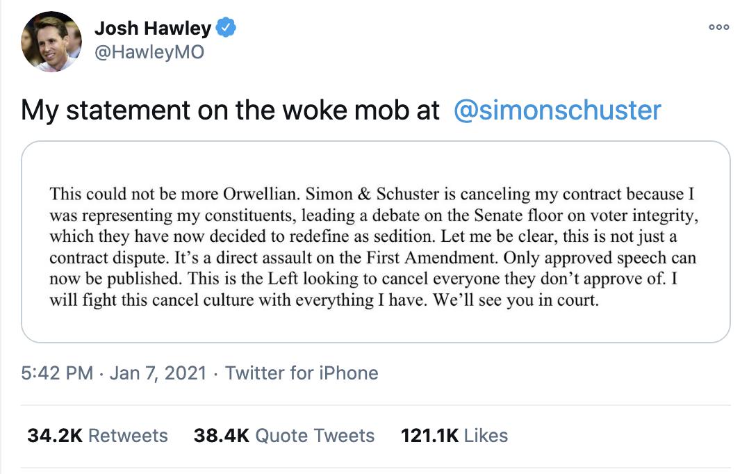 Screen-Shot-2021-01-08-at-9.44.45-AM Josh Hawley Has Child-Like Public Meltdown Over MAGA Riot Backlash Corruption Crime Featured Politics Top Stories