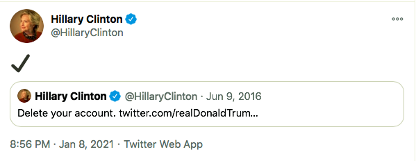 Screen-Shot-2021-01-08-at-9.50.25-PM Hillary Clinton Master-Trolls Trump Over His Twitter Ban Donald Trump Featured Hillary Clinton Politics Top Stories Twitter