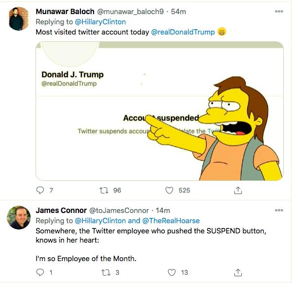 Screen-Shot-2021-01-08-at-9.52.10-PM Hillary Clinton Master-Trolls Trump Over His Twitter Ban Donald Trump Featured Hillary Clinton Politics Top Stories Twitter